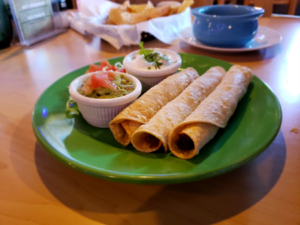 Rolled Tacos with Guacamole and Sour Cream