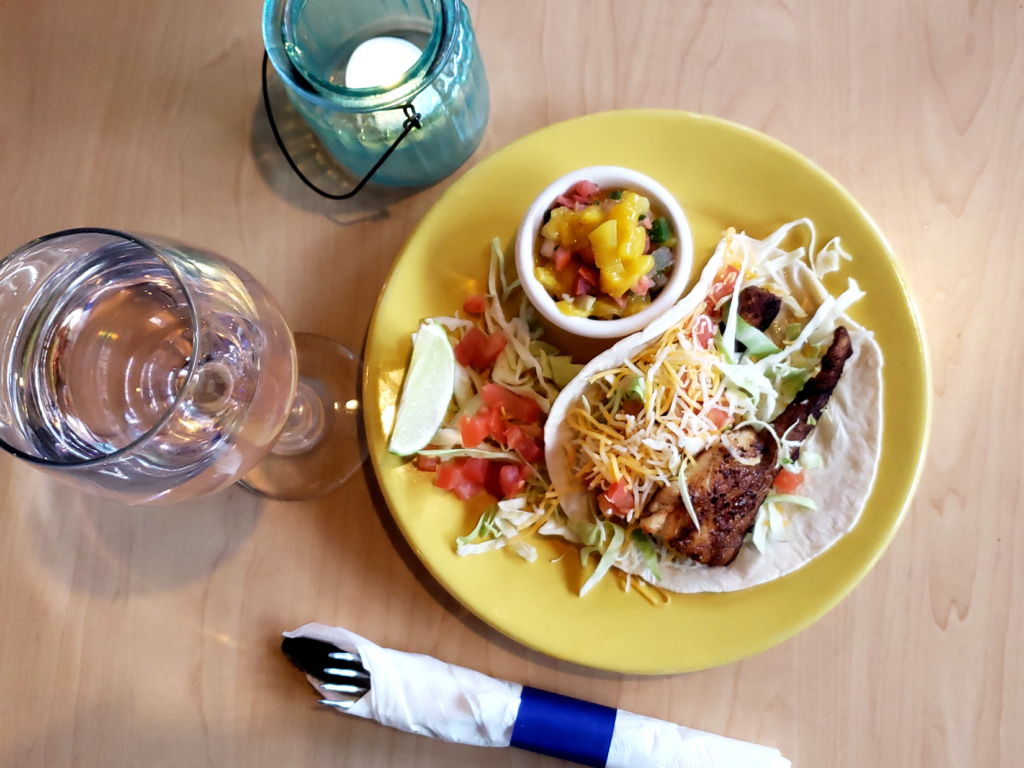 Fish Taco served with Mango Salsa